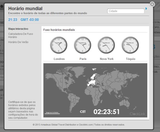 horário mundial