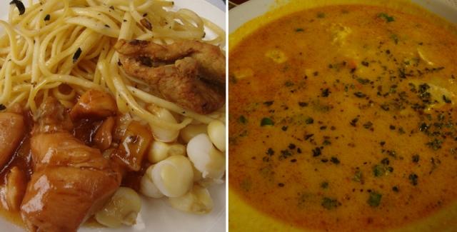 Culinária peruana: frango e sopa de quinua