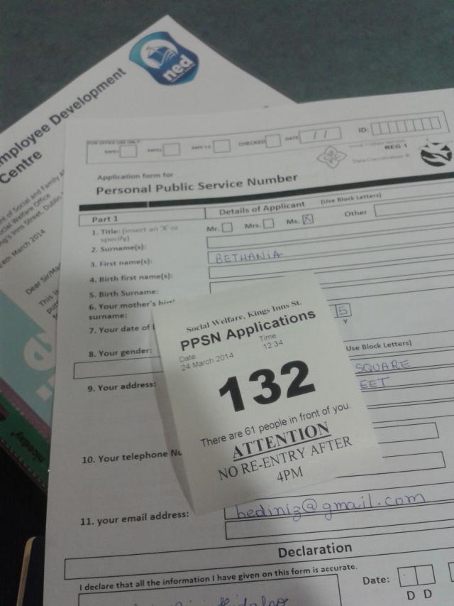 formulário e senha pps dublin