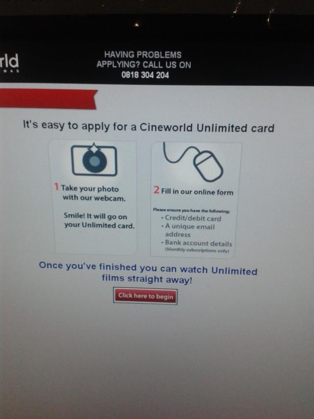 cartão ilimitado cineworld